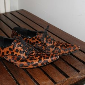 ZARA Pointy-toe Hairy Cheetah Print Dress Shoe